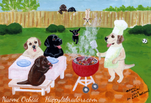 BBQ Party Labradors Painting