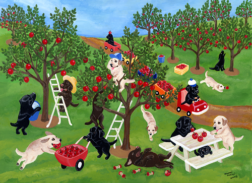 Apple Farm Labrador Painting