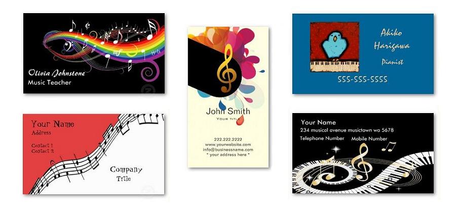 Zazzleで販売中のピアノ教室、音楽関係の名刺のサンプルです。