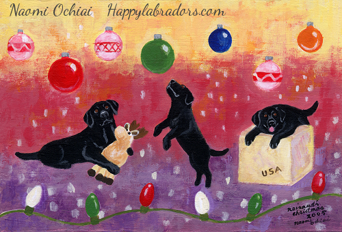 Black Labrador Christmas Painting