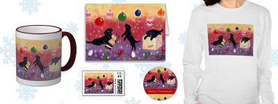 Whimsical Black Labrador Retriever Christmas Products