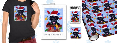Whimsical Black Labrador Puppy Christmas Products