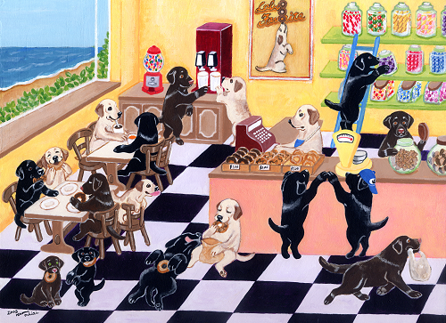 Candy Shop Labradors Painting