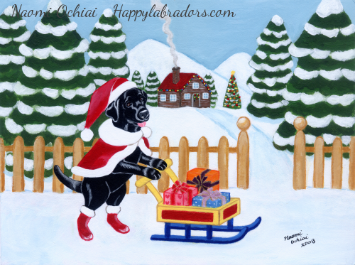 Whimsical Black Labrador Retriever Painting by Naomi Ochiai