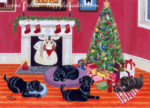 Whimsical Labrador Retriever Christmas Painting