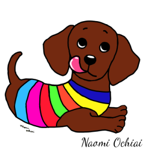 Dachshund Cartoon by Naomi Ochiai