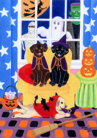 Whimsical Halloween Labrador Painting