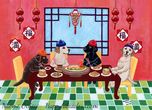 Chinese Restaurant Labradors Painting