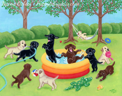 Summer Fun Labradors Painting Gifts by HappyLabradors.com