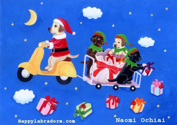 ラブラドールのクリスマスの絵です。