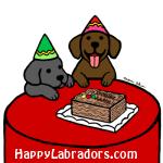 チョコレートラブラドールとブラックラブラドールのバースデーイラストギフト by ハッピーラブラドールズ