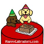イエローラブラドールとチョコレートラブラドールのバースデーイラストギフト by ハッピーラブラドールズ
