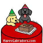イエローラブラドールとブラックラブラドールのバースデーイラストギフト by ハッピーラブラドールズ