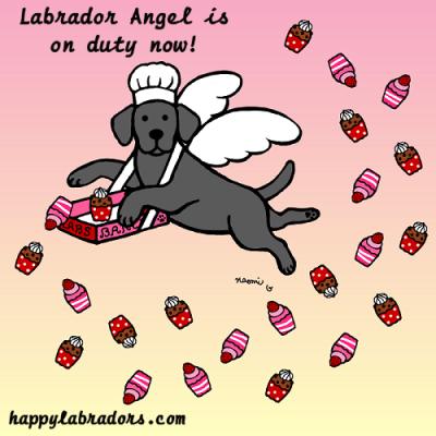 ラブラドールの天使のイラストです