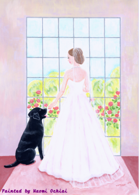 花嫁と黒ラブの絵です
