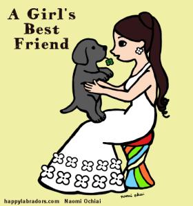 黒ラブのパピーと女の子のイラストです。