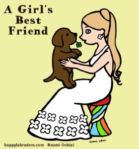 チョコラブのパピーと女の子のイラストです。