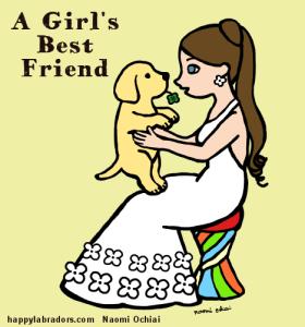 イエローラブ・パピーと女の子のイラストです。