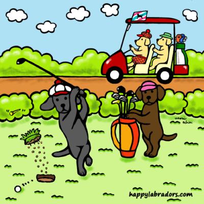 ラブラドールのゴルファーのイラストです