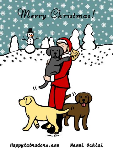 可愛いラブラドールとママのクリスマスのイラストです。