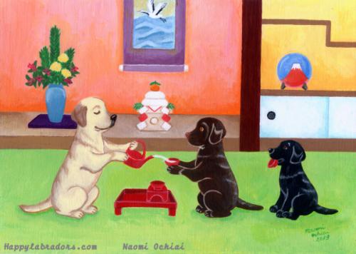 可愛いラブラドールのお正月の絵です。ochiai naomiが描きました。