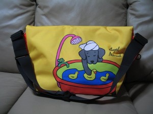 Black Labrador Cartoon Rickshaw Messenger Bag