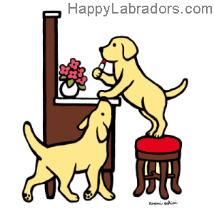 Yellow Labrador Duo Floral Cartoon Gifts by HappyLabradors.com