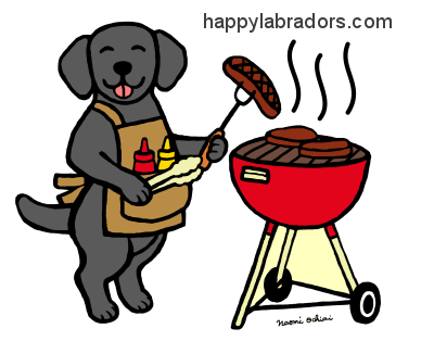 BBQ Party Black Labrador Gifts by HappyLabradors.com