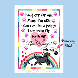 Personalized Black Labrador Rainbow Bridge Memorial Art by HappyLabradors.com
