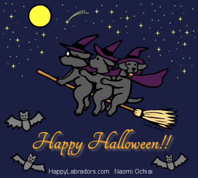 Halloween Black Labrador Cartoon by Naomi Ochiai