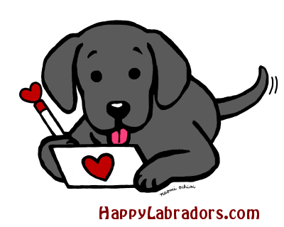 Black Labrador Writing Love Letter Cartoon by HappyLabradors.com