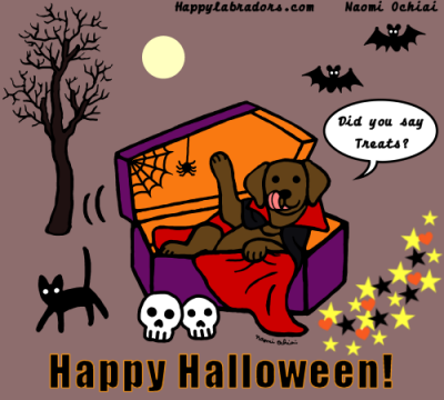 Halloween Chocolate Labrador Cartoon by Naomi Ochiai