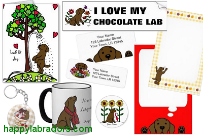 Chocolate Labrador Cartoon Gifts by HappyLabradors.com