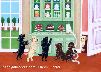 Whimsical Labrador Retriever Painting by Naomi Ochiai