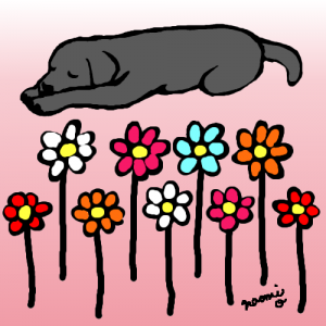 Black Labrador Cartoon created by Naomi Ochiai