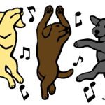 Happy Dancing Labradors Trio Cartoon created by Naomi Ochiai from Japan