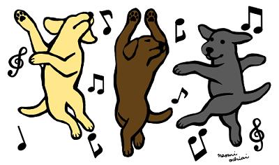 Happy Dancing Labradors Trio Cartoon created by Naomi Ochiai from Japan