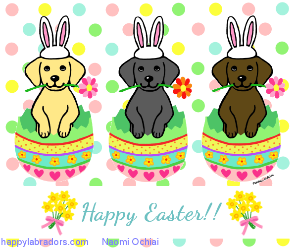 Easter Bunny Labradors cartoon created by Naomi Ochiai from Japan