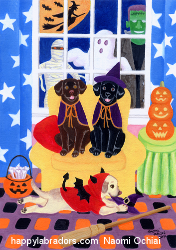 Halloween Party Labradors Painting
