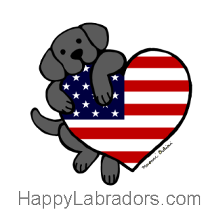 Black Labrador and American Heart 2 Cartoon Gifts by HappyLabradors.com