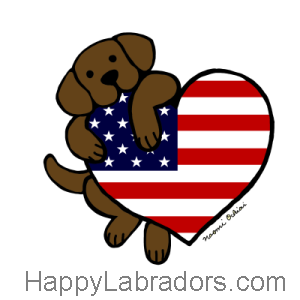 Chocolate Labrador American Heart 2 Cartoon Gifts by HappyLabradors.com