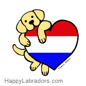 Cute Yellow Labrador Cartoon Design by Naomi Ochiai