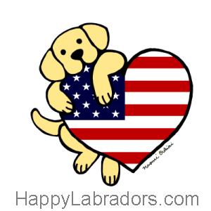 Yellow Labrador American Heart 2 Cartoon Gifts by HappyLabradors.com