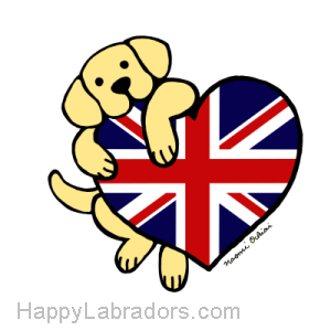 Yellow Labrador holding British Heart Gifts by HappyLabradors.com