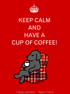 Keep Calm and Black Labrador Cartoon by Naomi Ochiai