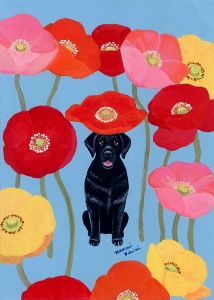 Black Labrador Whimsy Painting