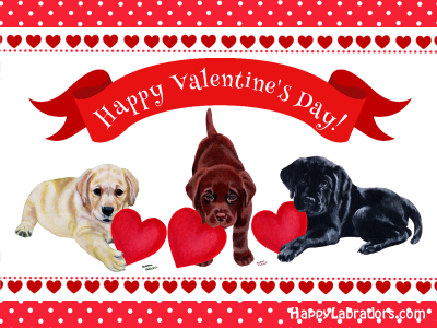 Labrador Valentine's Day Card by HappyLabradors.com