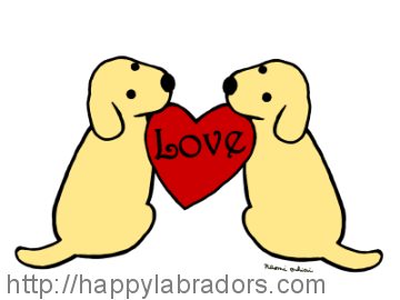Cute Yellow Labrador Cartoon created by Naomi Ochiai