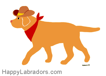 Cute cowboy style Yellow Labrador Cartoon design created by Naomi Ochiai