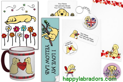 Yellow Labrador Cartoon Gifts by HappyLabradors.com